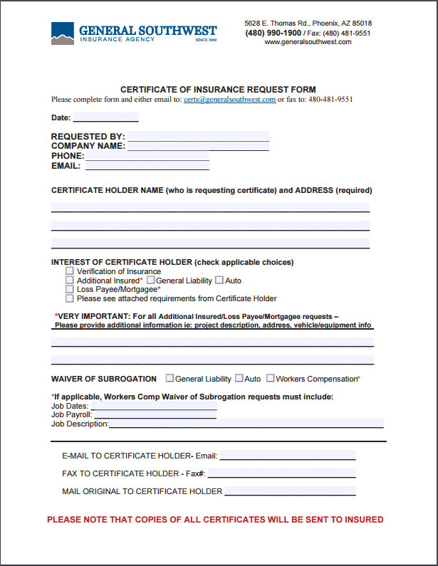 Request for Certificate | General Southwest Insurance Agency, Inc
