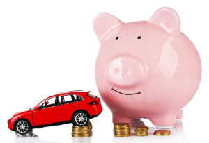 car with piggybank